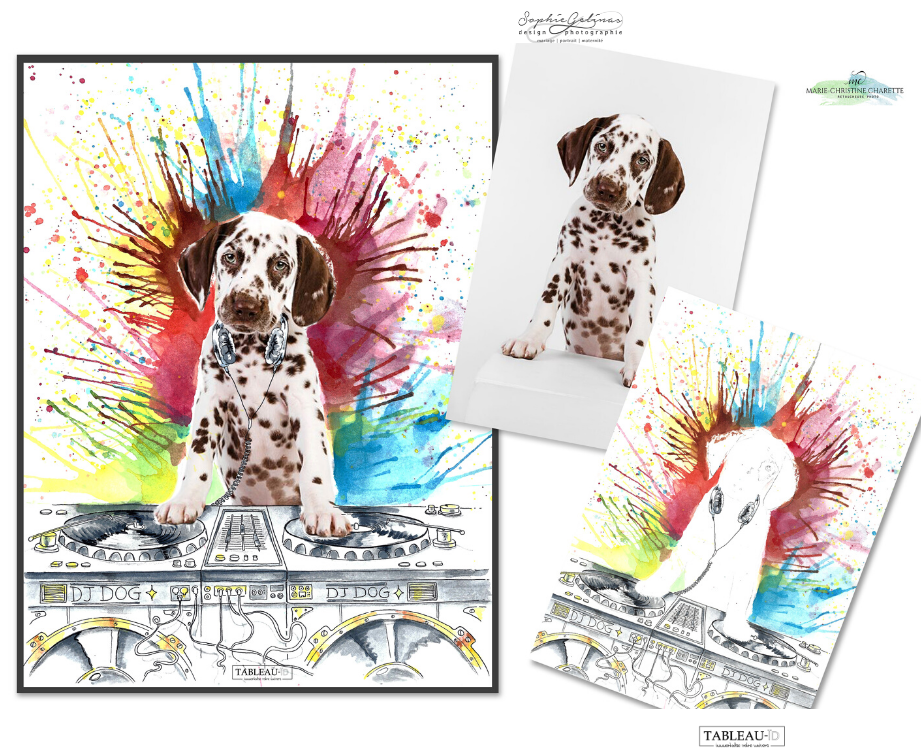 DJ dog, illustration sur photo de chien